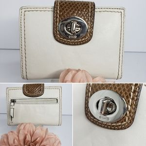 Coach Ivory & Brown Signature Turn Lock Wallet
